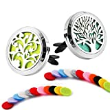 2 Pack Premium Aromatherapy Essential Oil Car Diffuser with 22 Replacement Felt Pads — Stainless Steel Air Freshener Locket Upgrade...