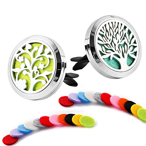2 Pack Premium Aromatherapy Essential Oil Car Diffuser with 22 Replacement Felt Pads — Stainless Steel Air Freshener Locket Upgrade Car Diffuser Vent Clip, Tree and Cloud Tree -