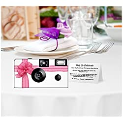 5 Pack Beautiful Pink Ribbon Disposable Camera, Wedding, Anniversary, party, sweet 16