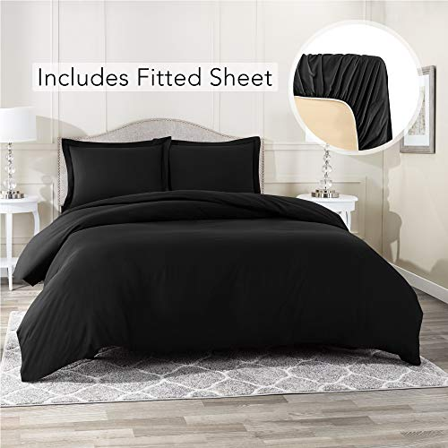 Nestl Bedding Duvet Cover with Fitted Sheet 4 Piece Set - Soft Double Brushed Microfiber Hotel Collection - Comforter Cover with Button Closure, Fitted Sheet, 2 Pillow Shams, Queen - Black (What A Comes In Duvet Set)