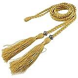 SODIAL(R) Woven tassel belt knot decorated waist chain waist rope Gold