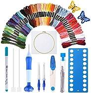 [Último modelo] Kit de bordado de agujas de punzón, juego de agujas mágicas de bordado con tela, 50 hilos de c