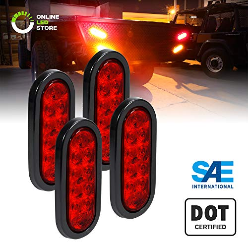 "4pc 6"" Oval Red LED Trailer Tail Lights [DOT Certified] [Grommet & Plug Included] [IP67 Waterproof] Turn Stop Brake Trailer Lights for RV Jeep Trucks"