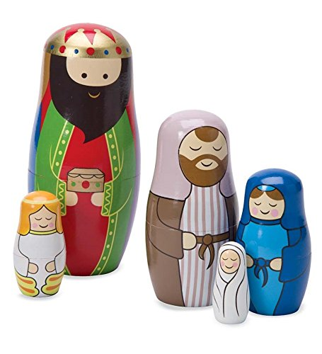 Magic Cabin Christmas Nativity Wooden Matryoshka Nesting Dolls, Set of 5 - Largest 6