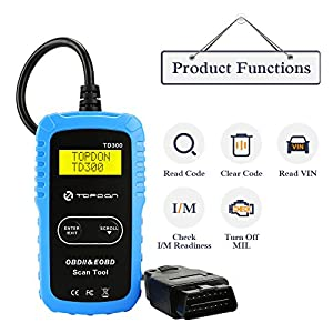 TT TOPDON OBD2 Scanner, TD300 Code Reader with Engine Light Check and Turn-Off, I/M Readiness Check, 7000 DTC Definitions