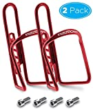 Aduro Bike Water Bottle Holder Aluminum Cage, [2X Pack] Bicycle Water Bottle Mount Lightweight for Cycling Fits Any Bike with Easy Installation (Red)
