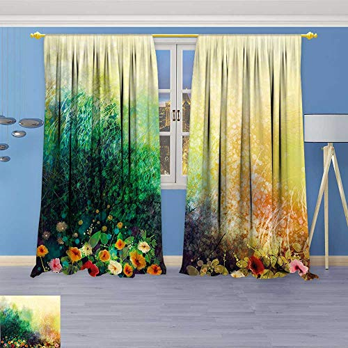 Philiphome 2 Panel Set Digital Printed Window Curtains,Flower Bed on Valley in Fall with Shady Faded Murky Print Green Mustard for Bedroom Living Room Dining Room