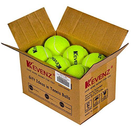 KEVENZ 12-Pack Green Advanced Training Tennis Balls,Practice Ball (Interlocked wool (Mix Yard Design)
