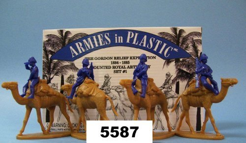 8 piece set of 54mm Plastic Army Men Figures Gordon Relief Expedition Camel Corps Royal Artillery Set #1 1:32 Scale Armies in Plastic NA Egypt and Sudan