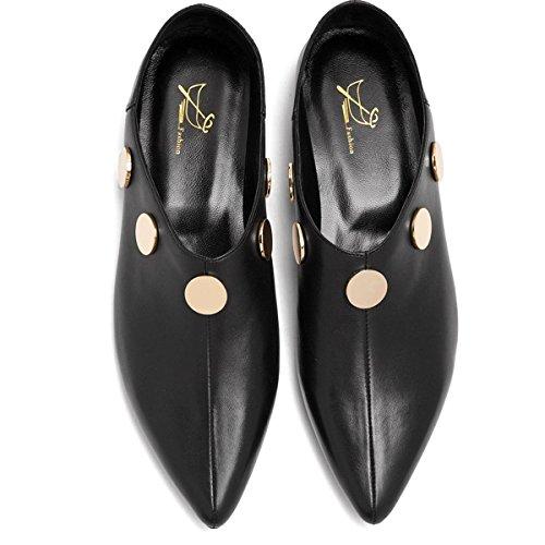2 Puntiagudo 4 eur36uk354 Medio Talón Trabajo Nvxie Media Perezosa Cuero Señoras Moda 37 Partido De Zapatos Única Mujer Otoño Eur Genuino Uk Botón Dos Desgaste Invierno Metal Nuevo Zapatillas Áspero qpxfZq