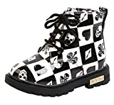DADAWEN Boy's Girl's Waterproof Side Zipper Lace-Up Ankle Boots (Toddler/Little Kid/Big Kid) Black/White(Poker) US Size 10 M Toddler
