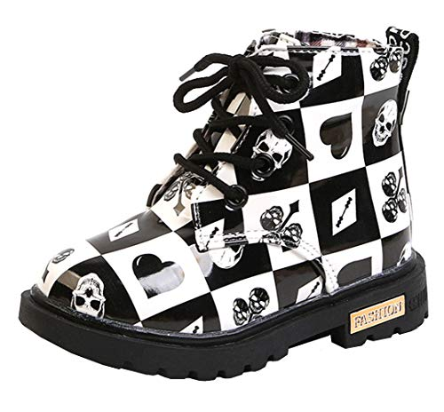 DADAWEN Boy's Girl's Waterproof Side Zipper Lace-Up Ankle Boots (Toddler/Little Kid/Big Kid) Black/White(Poker) US Size 6 M Toddler