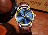 Mens Quartz Date Watch Classic Casual Brown Leather Strap Wrist Watch