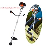 Straight Shaft String Trimmer 2-cycle 43cc Gas Powered Lawn Edger Brush Cutter Combo 17-Inch with Adjustable J-Handle(US Stock) (43cc - 2 in 1 Brush Cutter/Trimmer)