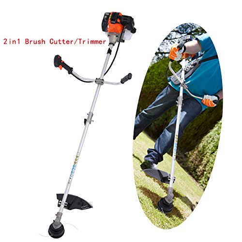 Straight Shaft String Trimmer 2-cycle 43cc Gas Powered Lawn Edger Brush Cutter Combo 17-Inch with Adjustable J-Handle(US Stock) (43cc - 2 in 1 Brush Cutter/Trimmer) by shaofu