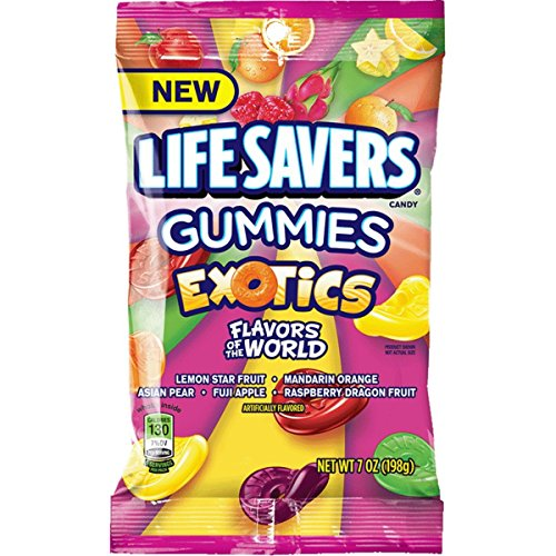 Life Savers Exotics Gummies Candy Bag, 7 ounce (12 Packs) (Fun Size Life Savers)