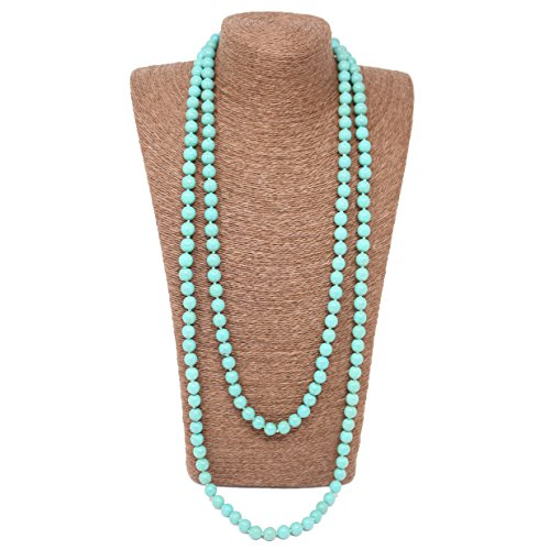 Turquoise Bead Necklace Jewelry - Beads Source Knotted Necklace 72 inches Round Turquoise Handmade Jewelry. (10mm, Green)