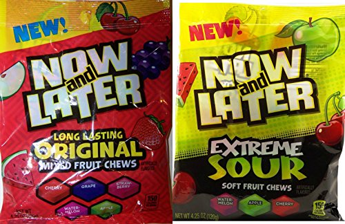 Now and Later Original Chews & Extreme Sour Fruit Chews Variety Combo (Pack of 4) (Now And Later Soft Grape compare prices)