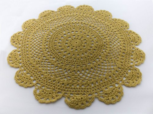 Handmade-Medallion-Crochet-Lace-Tray-Cloths-Doilies-100-Cotton-Chartreuse-Green-Color-12-Inch-Round-Set-of-4