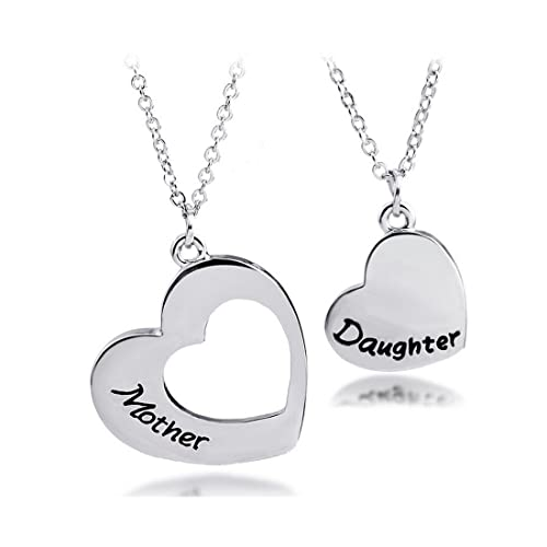 205e0a477 KUIYAI Mother Daughter Necklace Set of 2 Matching Heart Mom and Me Jewelry (Mother  Daughter