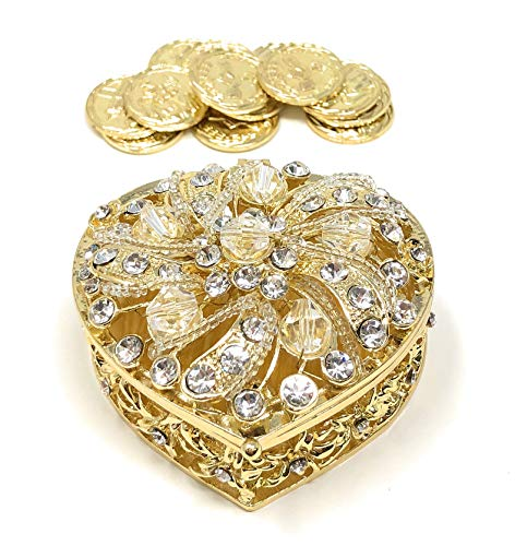 Religious Bridal Set - CB Accessories Wedding Unity Coins - Arras de Boda - Heart Shaped Box with Decorative Rhinestone Crystals 78 (Gold)