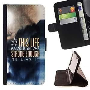 BullDog Case - FOR/Samsung Galaxy S5 Mini, SM-G800 / - / THIS LIFE - DEEP MESSAGE /- Monedero de cuero de la PU Llevar cubierta de la caja con el ID Credit Card Slots Flip funda de cuer