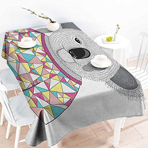 EwaskyOnline Spill-Proof Table Cover,Koala Hipster Koala with Colorful Polygonal Shirt with Angular Triangles Australian Animal,Table Cover for Kitchen Dinning Tabletop Decoratio,W60x120L, Multicolor ()