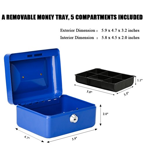 Jssmst Small Locking Cash Box with Money Tray, Lock Money Box for Kids Blue, 5.9 x 4.7 x 3.2 inches, CB013-L by Jssmst (Image #4)