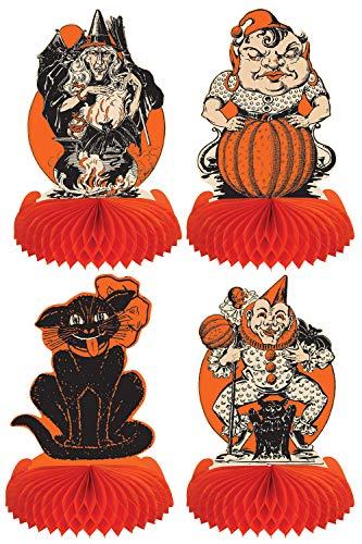 Beistle 00433 Vintage Halloween Centerpieces 4 Piece, 9