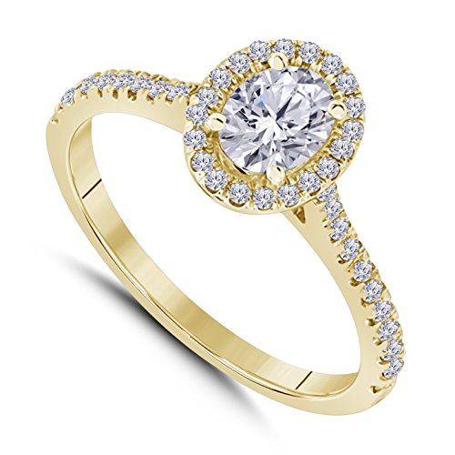 Star Oval Shape Ring - 14k Yellow Gold Plated Alloy Forever Beautiful Oval Shape CZ Diamond Halo Engagement Ring 1 ct