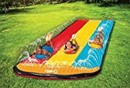 Jambo Triple Lane Slip, Splash and Slide for Backyards   Water Splash Slide with 3 Boogie Boards   16 Foot Thr