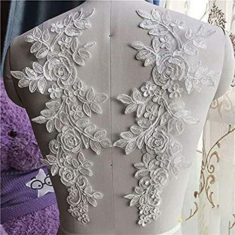 1 Pair Applique 3D Lace Trim Embroidery Sewing Motif DIY Wedding Bridal Crafts Lake Blue