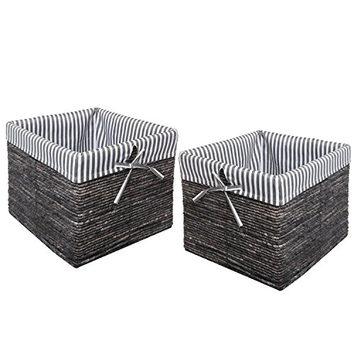 Rattan Stripe Laundry Magazine Storage
