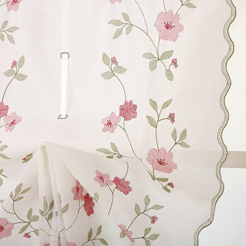 ZHH 1 Panel Polyester Handmade Crochet Flowers Pastoral Style Rustic Tie-Up Balloon Curtain 25-Inch By 57-Inch,Pink by ZHH (Image #3)