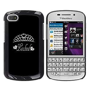 For BlackBerry Q10 Case , Tiara Diamond Locked Silver Glitter - Diseño Patrón Teléfono Caso Cubierta Case Bumper Duro Protección Case Cover Funda