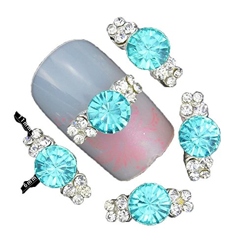 10 Pieces 3D Nail Art Décorations Diy Glitter Argent Alliage Charme clair Strass Pour Nail Art Bleu Clair Cristal Pour Ongles - Bleu Clair