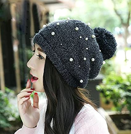 Joyci Beautiful Pearl Knitted Hat Winter Thick Beanie Cap Cute Pom Pom Hat