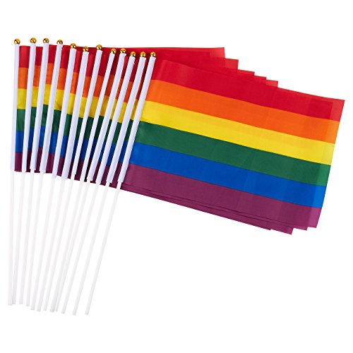 Juvale 12 Piece Set of Gay Pride Flags - Small Rainbow Flag, LGBT Stick Flags for Mardi Gras, Gay Pride, Rainbow Party Supplies - 11.7 x 7.7 Inches ()