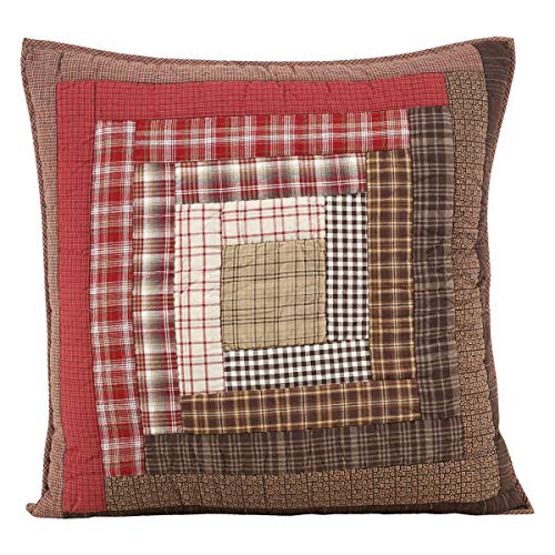 VHC Brands Rustic & Lodge Bedding - Tacoma Red Quilted Euro Sham (Renewed)