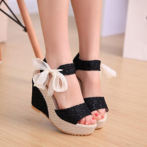 Binmer(TM) Women Fashion Summer Slope With Flip Flops Sandals Loafers Shoes Black gqoq9VEyB