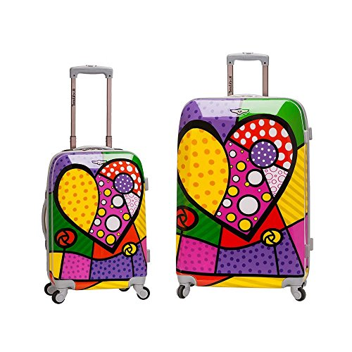 2 Piece Vibrant Geometric Heart Shape Spinner Upright Carry On Luggage Suitcases, Polka Dots Stripes Lines Theme, Expandable, Hardsided, Multi Compartment, Fashionable Handle Travel Cases, Multicolor by S & E