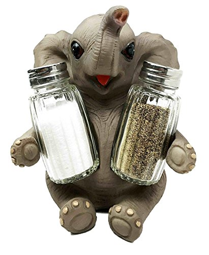 Ebros Lucky Strike Pachyderm Elephant Baby Salt Pepper Shakers Holder Statue Wildlife Zoo Animal Figurine Decor -