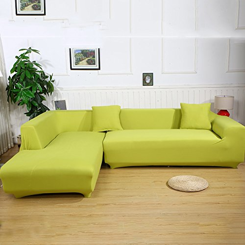 Eleoption Sectional Sofa Slipcover Couch Cover, Universal Stretch Fabric Sofa Slipcover 2Piece for Sectional Sofa L Shape Couch Protector Gift Pillow Cover (Light Green, L-style 3+3 Seater)