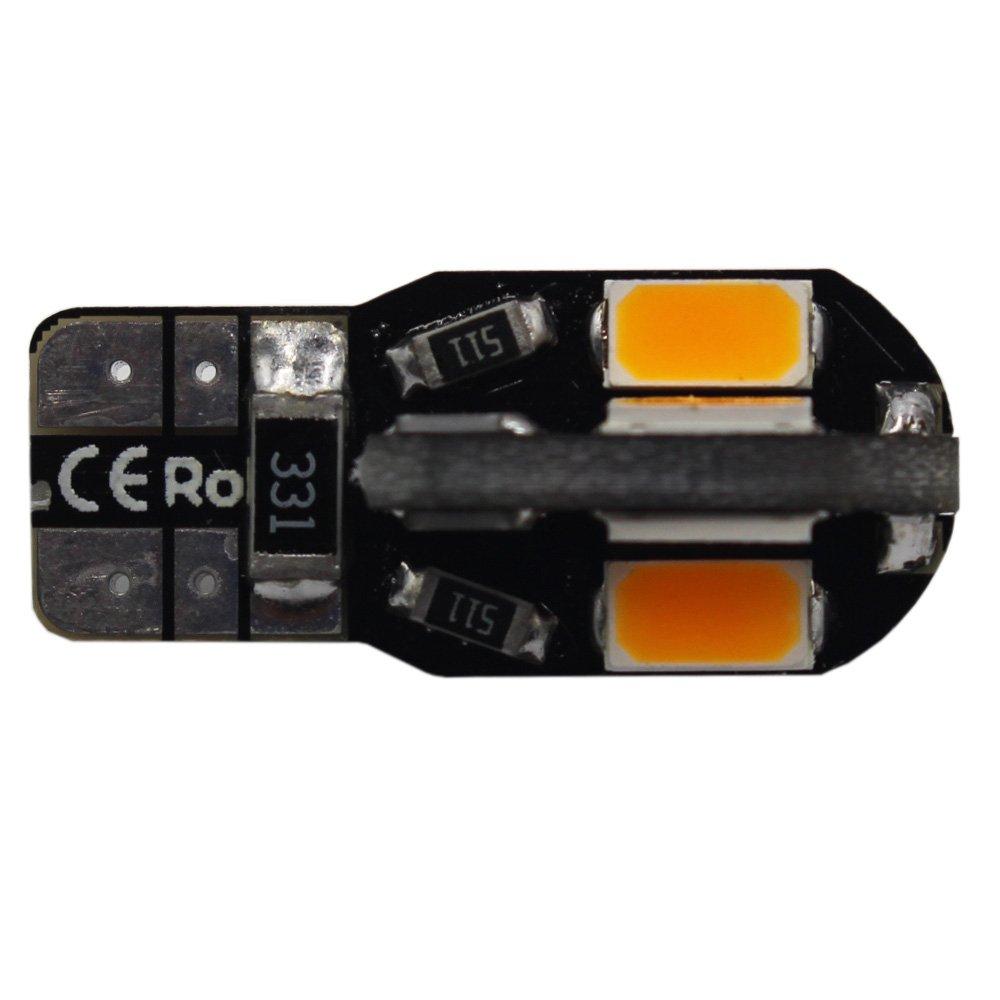 AMAZENAR Paquete de 10 T10 194 168 168 2825 /Ámbar//Amarillo Canbus Error Gratis 12V Luz LED 8-SMD 5730 Chipsets Reemplazo del Coche Bulbo para Mapa C/úpula Cortes/ía Matr/ícula Lateral Luz de Marcador