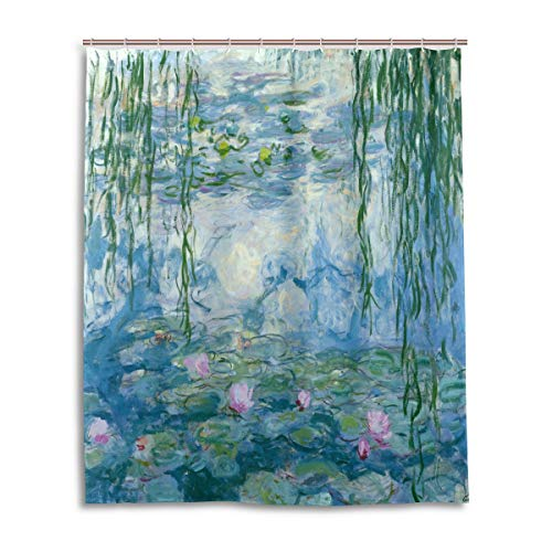 (Home Decor Shower Curtain Water Lilies by Claude Monet Oil Paintings Flowers Waterproof Resistant, Fabric Bathroom Decor Set with 12 Hooks, 60