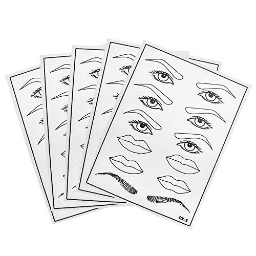 ATOMUS 5 Pcs Silicone Tattoo Practice Skins for Eyebrows Lips Eyes Microblading Fake Skin Sheets for Beginners and Artists Permanent Makeup Training Skins