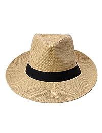 Docooler Men Women Panama Sun Straw Hat Rolled Trim Beach Cap