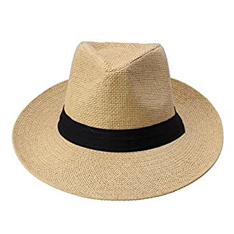 Docooler Men Women Panama Sun Straw Hat Contrast Ribbon Pinched Crown Rolled Trim Beach Cap