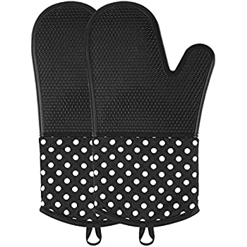 OVAWA Silicone Oven Mitts, Extra Long Kitchen Oven Gloves, Professional Heat Resistant Baking Gloves, 1 Pair, Black