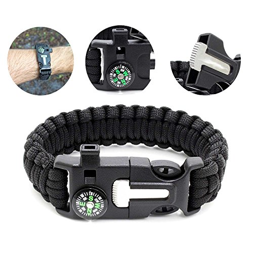 YOUKU Multi-function Paracord bracelet, cool compass , fire starter scraper whistling, ultimate survival gear emergency tactical gear blade knife | wilderness survival tool, camping/fishing